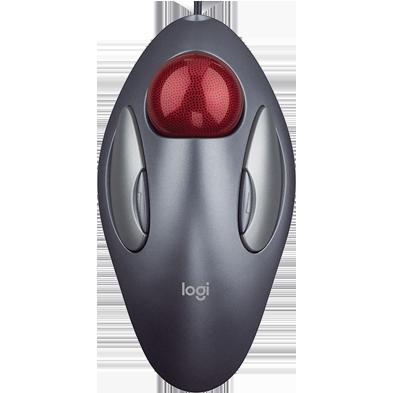 Logitech Marble Trackball Maus schnurgebunden silber-rot USB-Anschluss