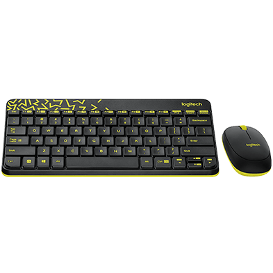Mk240 Keyboard and Mouse in Black with Chartreuse ZigZag Pattern