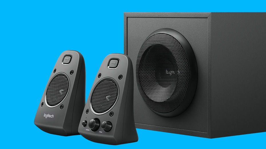 Side view of Z625 Powerful THX Sound Speakers on blue background