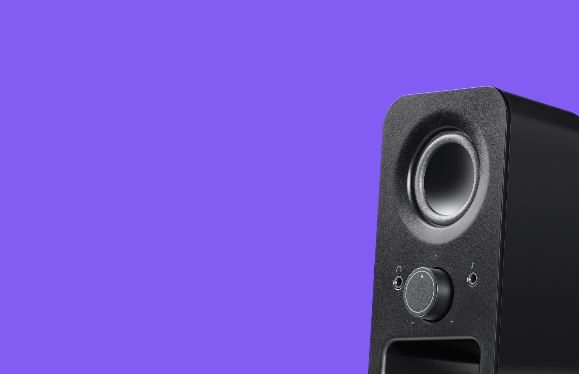Side-view Z150 Clear Stereo Sound Black Speaker with purple background