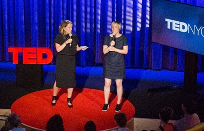Two women giving presentations together